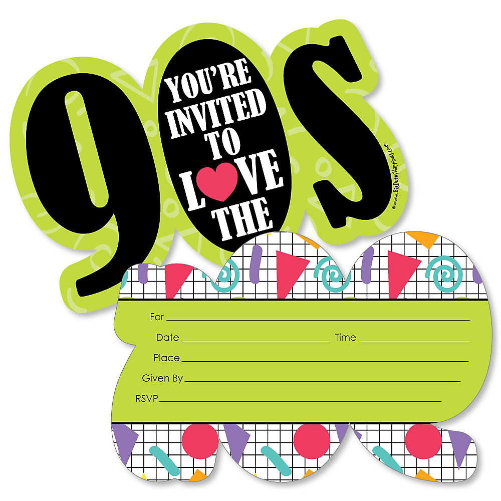 90 S Throwback Shaped Fill In Invitations 1990s Party Invitation