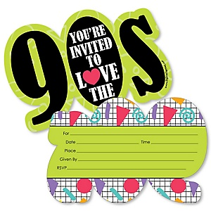 90's Throwback - Shaped Fill-In Invitations - 1990s Party Invitation Cards with Envelopes - Set of 12