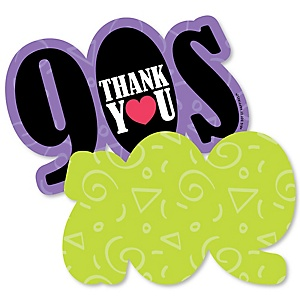 90's Throwback - Shaped Thank You Cards - 1990s Party Thank You Note Cards with Envelopes - Set of 12