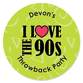 90's Throwback - Round Personalized 1990s Party Sticker Labels - 24 ct