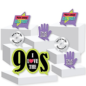 90's Throwback - 1990s Party Centerpiece and Buffet Table Decor - Tabletop Standups - Set of 7
