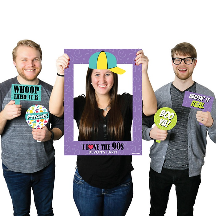 90's throwback - Personalized Nineties Selfie Photo Booth Picture Frame & Props - Printed on Sturdy Material