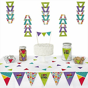 90's Throwback -  Triangle 1990s Party Decoration Kit - 72 Piece