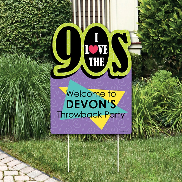 90's Throwback - Party Decorations - 1990s Party Personalized Welcome Yard Sign