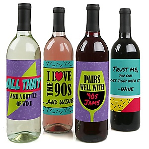 90's Throwback - 1990s Party Decorations for Women and Men - Wine Bottle Label Stickers - Set of 4