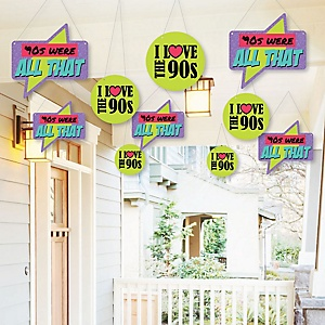 Hanging 90's Throwback - Outdoor 1990s Party Hanging Porch and Tree Yard Decorations - 10 Pieces