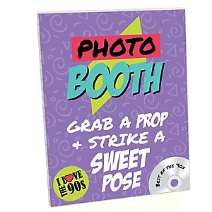 90's Throwback Photo Booth Sign - 1990s Party Decorations - Printed on Sturdy Plastic Material - 10.5 x 13.75 inches - Sign with Stand - 1 Piece