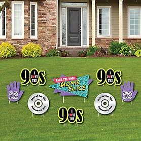 90's Throwback - Yard Sign & Outdoor Lawn Decorations - 1990s Party Yard Signs - Set of 8