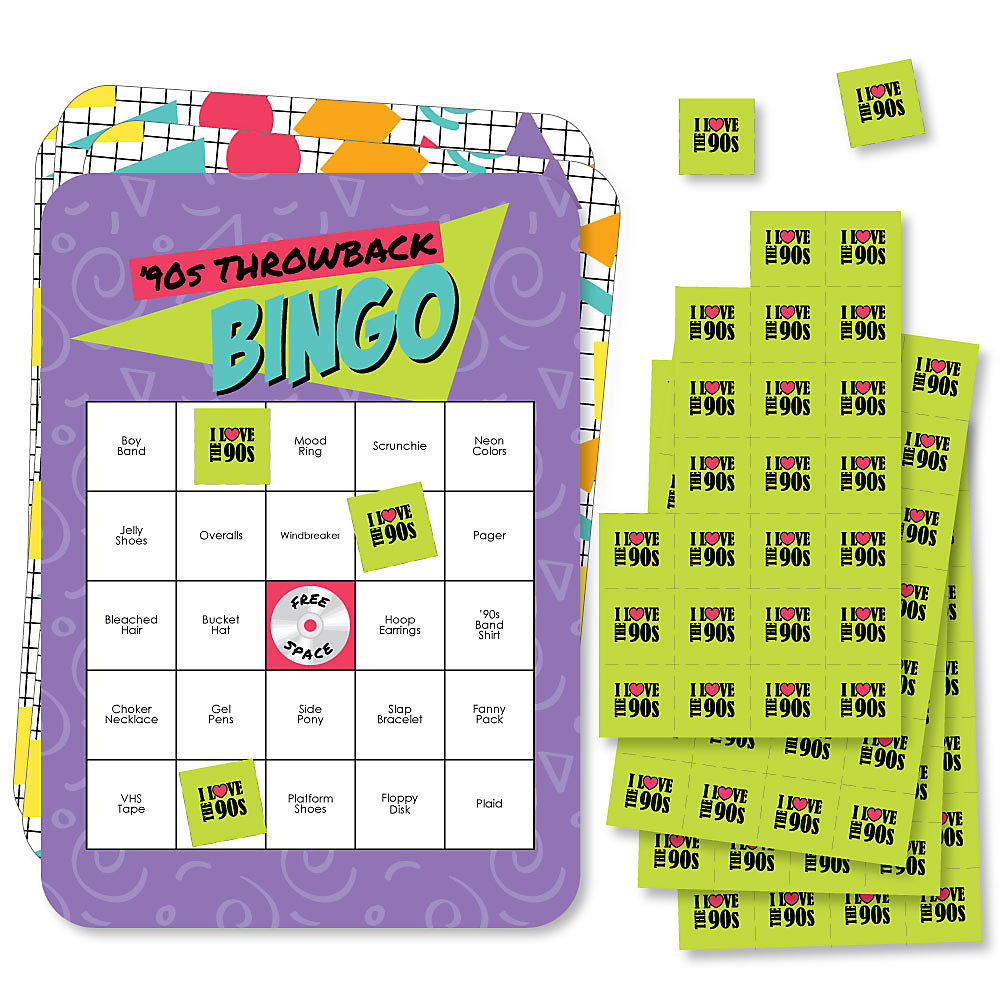 90's Throwback - Bar Bingo Cards and Markers - 1990s Party Bingo Game - Set  of 18