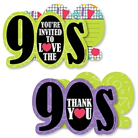 90's Throwback - 20 Shaped Fill-In Invitations and 20 Shaped Thank You Cards Kit - 1990s Party Stationery Kit - 40 Pack