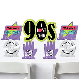 90's Throwback - 1990s Party Centerpiece Table Decorations - Tabletop Standups - 7 Pieces