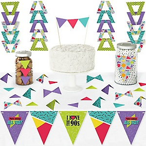 90's Throwback - DIY Pennant Banner Decorations - 1990s Party Triangle Kit - 99 Pieces