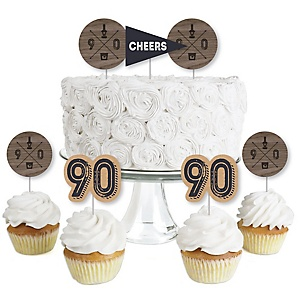 90th Milestone Birthday - Dashingly Aged to Perfection - Dessert Cupcake Toppers - Birthday Party Clear Treat Picks - Set of 24