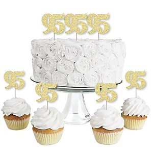 Gold Glitter 95 - No-Mess Real Gold Glitter Dessert Cupcake Toppers - 95th Birthday Party Clear Treat Picks - Set of 24