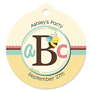 A is for Alphabet - Round Personalized Party Tags - 20 ct