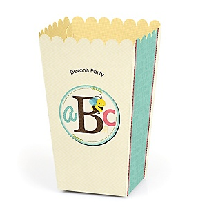 A is for Alphabet - Personalized ABC Party Popcorn Favor Treat Boxes - Set of 12