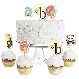 A is for Alphabet - Dessert Cupcake Toppers - ABC Baby Shower or Birthday Party Clear Treat Picks - Set of 24