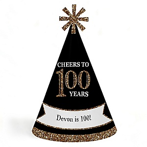 Adult 100th Birthday - Gold - Personalized Cone Happy Birthday Party Hats for Kids and Adults - Set of 8 (Standard Size)