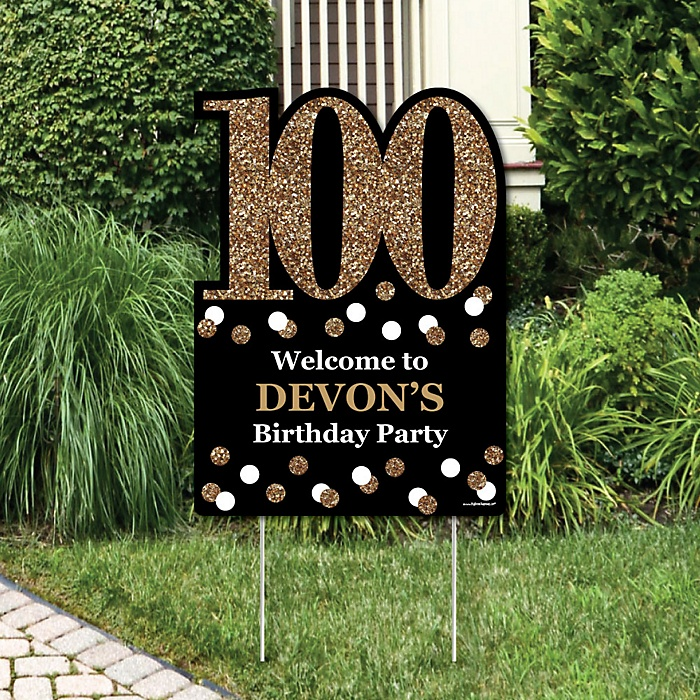 Adult 100th Birthday - Gold - Party Decorations - Birthday Party Personalized Welcome Yard Sign