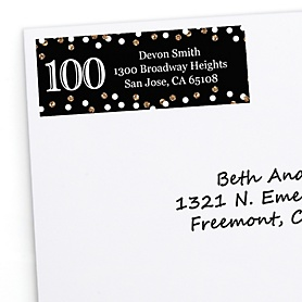 Adult 100th Birthday - Gold - Personalized Birthday Party Return Address Labels - 30 ct
