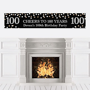Adult 100th Birthday - Gold - Personalized Birthday Party Banner