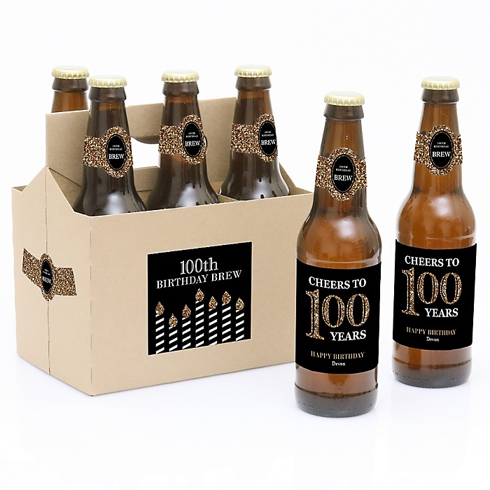 Adult 100th Birthday - Gold - Decorations for Women and Men - 6 Beer Bottle Labels and 1 Carrier - Birthday Gift