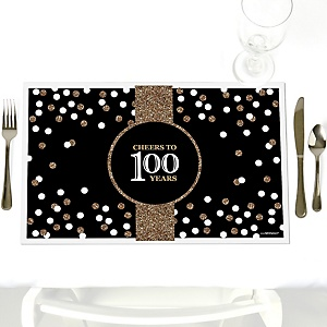 Adult 100th Birthday - Gold - Party Table Decorations - Birthday Party Placemats - Set of 12