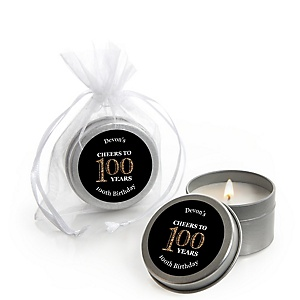 Adult 100th Birthday - Gold - Personalized Birthday Party Candle Tin Favors - Set of 12