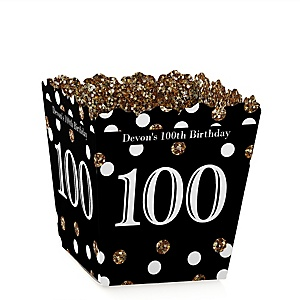 Adult 100th Birthday - Gold - Party Mini Favor Boxes - Personalized Birthday Party Treat Candy Boxes - Set of 12