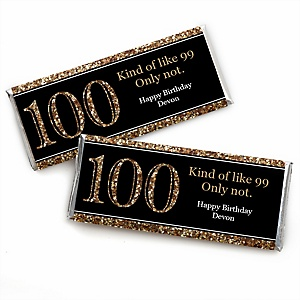 Adult 100th Birthday - Gold - Personalized Candy Bar Wrappers Birthday Party Favors - Set of 24