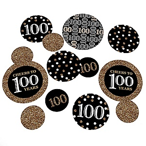 Adult 100th Birthday - Gold - Birthday Party Giant Circle Confetti - Party Decorations - Large Confetti 27 Count