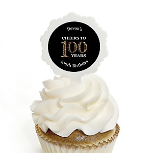 Adult 100th Birthday - Gold - Personalized Birthday Party Cupcake Pick and Sticker Kit - 12 ct
