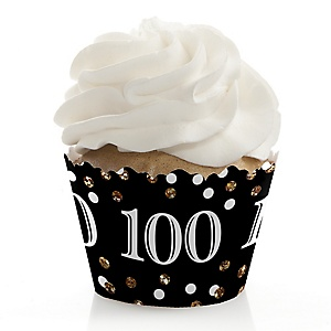 Adult 100th Birthday - Gold - Birthday Decorations - Party Cupcake Wrappers - Set of 12