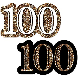 Adult 100th Birthday - Gold - DIY Shaped Party Paper Cut-Outs - 24 ct