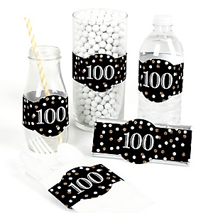 Adult 100th Birthday - Gold - DIY Party Wrappers - 15 ct