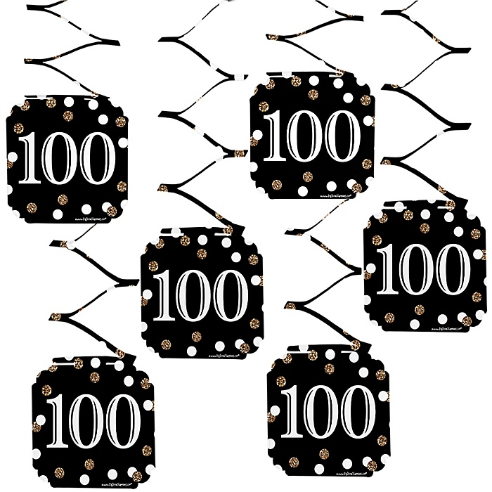Adult 100th Birthday - Gold - Birthday Party Hanging Decorations - 6 ct