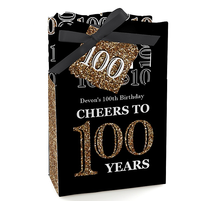 Adult 100th Birthday - Gold - Personalized Birthday Party Favor Boxes - Set of 12