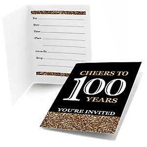 Adult 100th birthday gold birthday party theme adult 100th birthday gold birthday party fill in invitations 8 ct filmwisefo Choice Image