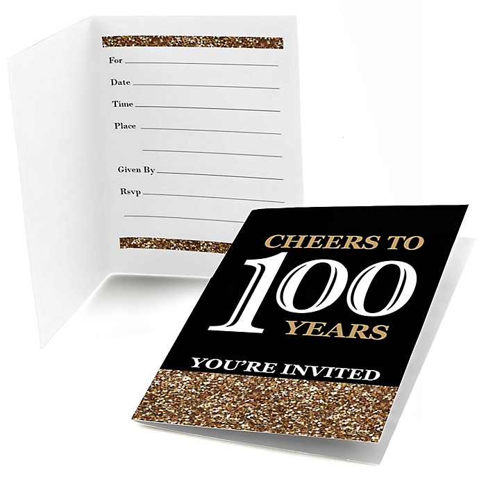 Adult 100th Birthday - Gold - Birthday Party Fill In Invitations - 8 ct