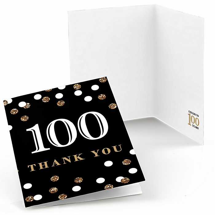 Adult 100th Birthday - Gold - Birthday Party Thank You Cards - 8 ct