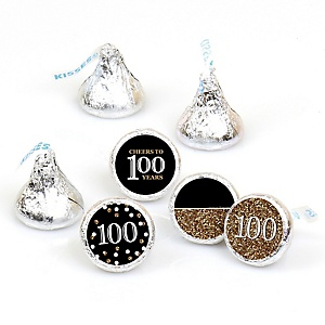 Adult 100th Birthday - Gold - Round Candy Labels Birthday Party Favors - Fits Hershey's Kisses - 108 ct