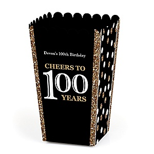 Adult 100th Birthday - Gold - Personalized Birthday Party Popcorn Favor Treat Boxes - Set of 12