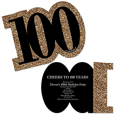 Adult 100th birthday gold shaped birthday party invitations adult 100th birthday gold shaped birthday party invitations bigdotofhappiness filmwisefo