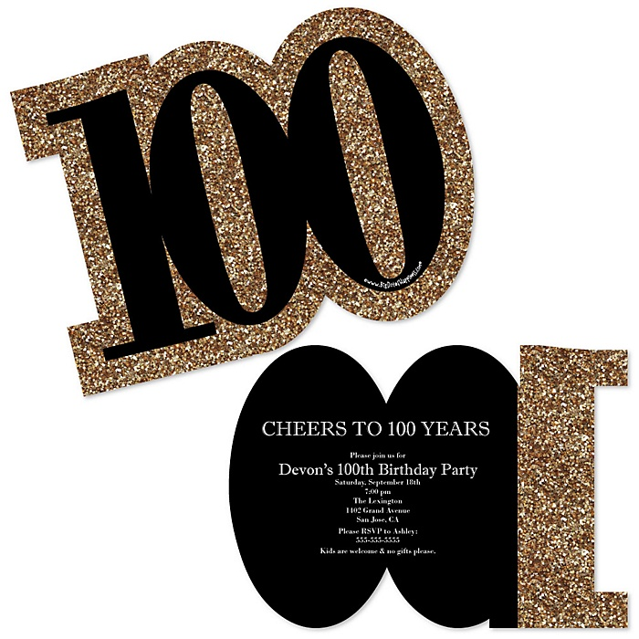Adult 100th Birthday - Gold - Shaped Birthday Party Invitations - Set of 12