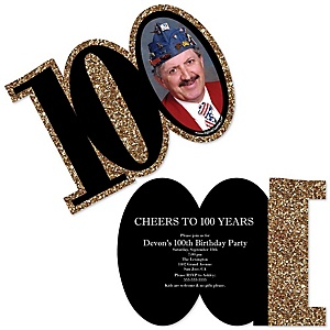 Adult 100th Birthday - Gold - Personalized Shaped Photo Birthday Party Invitations - Set of 12