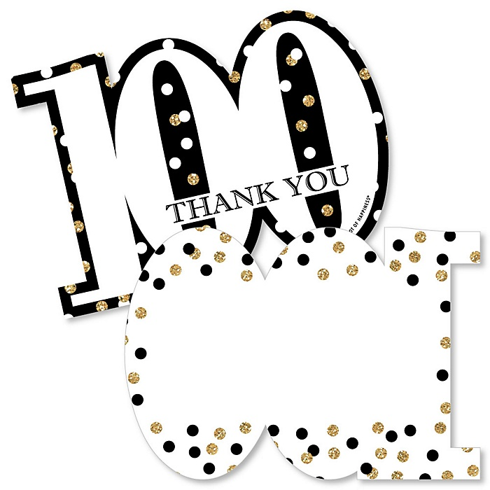 Adult 100th Birthday - Gold - Shaped Thank You Cards - Birthday Party Thank You Note Cards with Envelopes - Set of 12