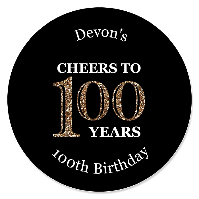 Adult 100th Birthday - Gold - Personalized Birthday Party Sticker Labels - 24 ct