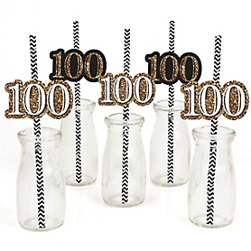 Adult 100th Birthday - Gold - Paper Straw Decor - Birthday Party Striped Decorative Straws - Set of 24