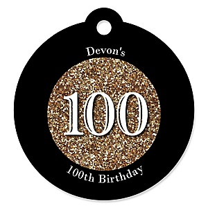 Adult 100th Birthday - Gold - Round Personalized Birthday Party Tags - 20 ct