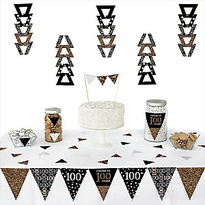 Adult 100th Birthday - Gold -  Triangle Birthday Party Decoration Kit - 72 Piece